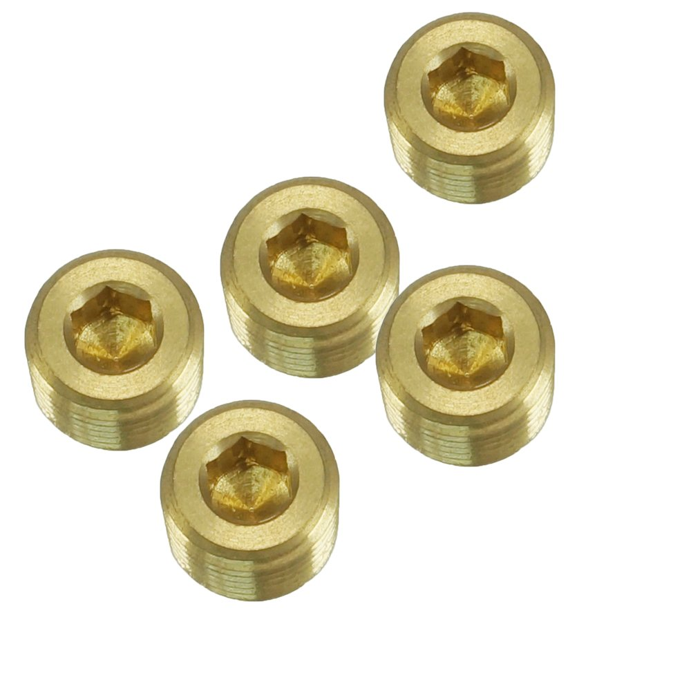 NIGO JNS Brass Pipe Fitting, Hex Counter Sunk Plug, Male Pipe - 5 Pack (1/2 inch)