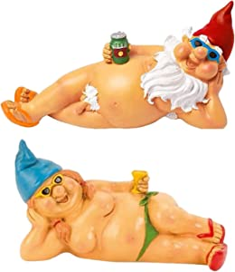 Naughty Garden Gnomes Statue, Peeing & Naked Gnomes Statues, Resin Figurines Home Decor, Funny Garden Statues for Lawn Ornaments Indoor Or Outdoor Decorations (Beach Men & Women)