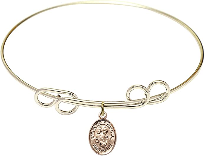 Sts Peter /& Paul Charm On A 8 1//2 Inch Round Double Loop Bangle Bracelet