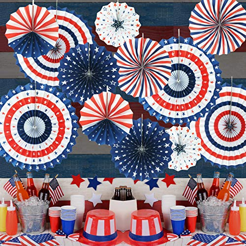 (GiftExpress 12pc Patriotic Paper Fans Hanging Decoration for 4th of July Decoration, Red White Blue Patriotic Hanging Decoration, Independence Day Party Supplies)