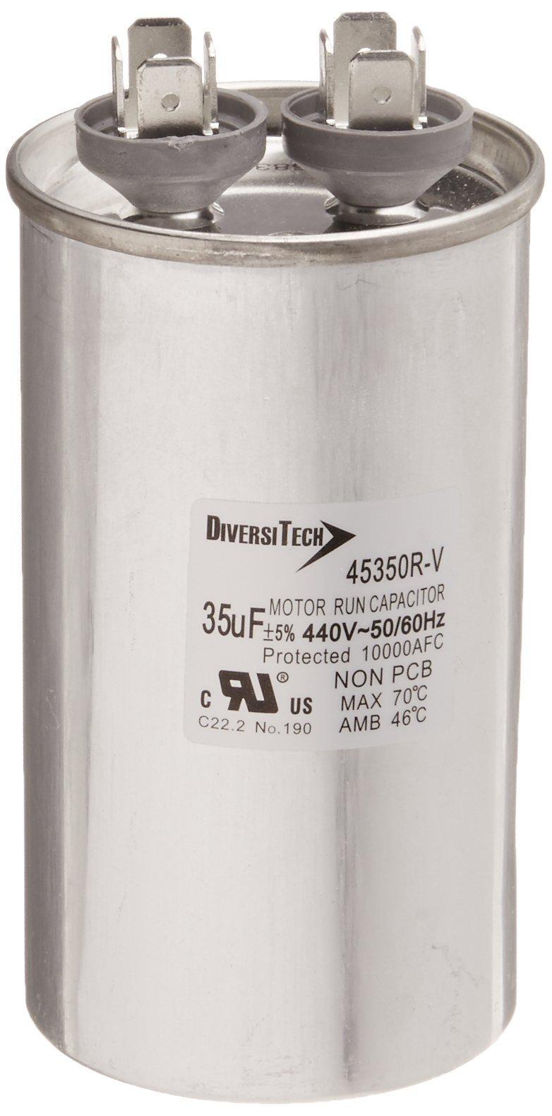 Diversitech 45350R Mtr. Run Cap, Round, 35uf 440v