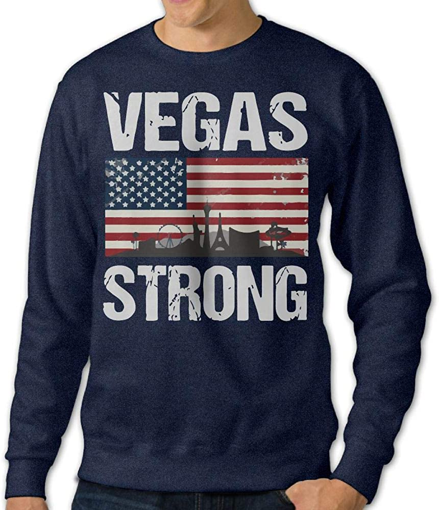 Mens Vegas Strong Crewneck Long Sleeve Cotton Fleece Sweatshirt Sweaters