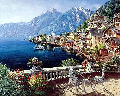 Seascape Oil Painting By Numbers DIY Digital Pictures Coloring By Number on Canvas without Wooden Framed