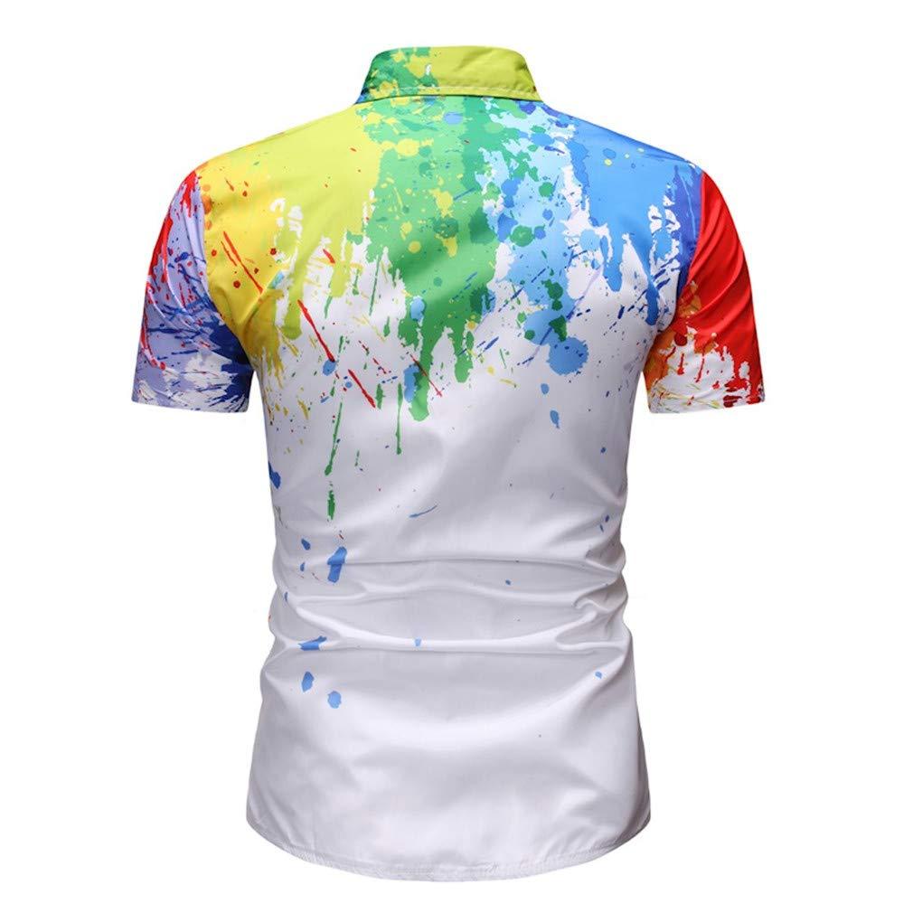 Summer Shirt Men Casual Print Short Sleeve Turn-Down Collar Tops Shirts Hawaiian Slim Fit Shirt