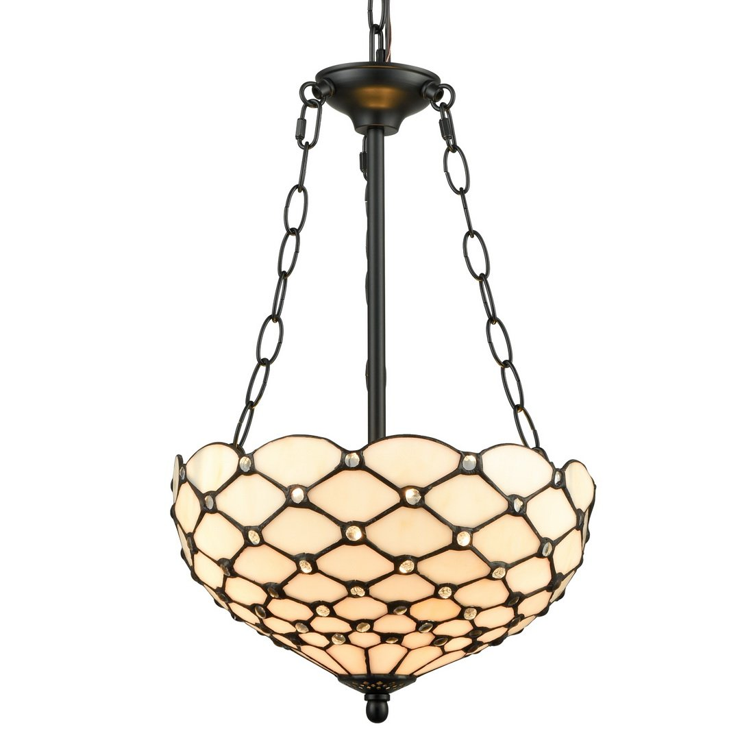 EUL Tiffany Style Pendant Light Fixtures Antique Brass & Art Stained Glass Hanging Lampshade-3 Lights