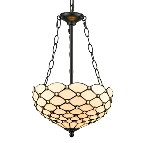 EUL Tiffany Style Pendant Light Fixtures Antique Brass & Art Stained ...
