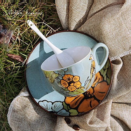 Pyuang Ceramic Mug Couple Coffee Milk Cup Set With Cover Spoon Office Cup Water Cup Hand-Painted Vintage Personality Flowers And Birds