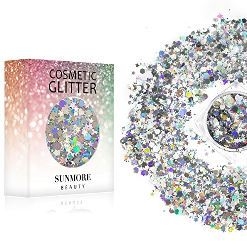Noble Goddess - Iridescent Cosmetic Glitter, Chunky Glitter Festival,Shining Makeup Glitter for Beauty Makeup Face Body Hair - Glitter Star Shaped