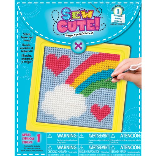 Colorbok 61904 Rainbow Learn To Sew Needlepoint Kit, 6-Inch by 6-Inch, Yellow Frame by Colorbok