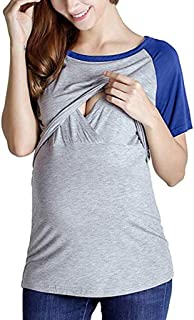 baskuwish Breastfeeding Shirt, Womens Maternity Nursing Tops Patchwork Baseball T-Shirt for Pregnant