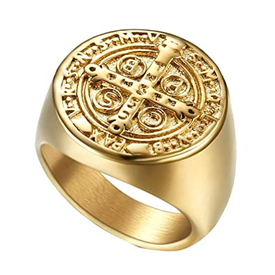 wind goal men s golden cross christian ring classic round carbide