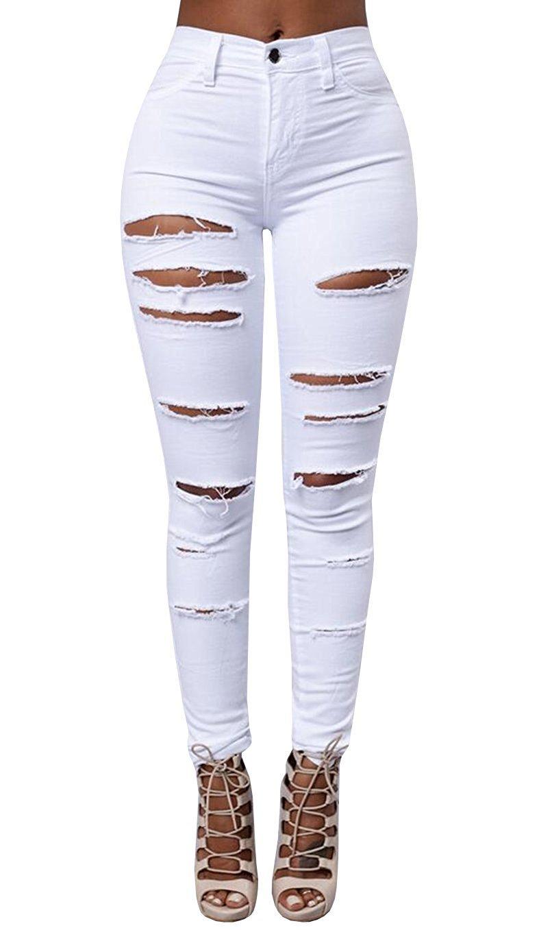 Women's High Waist Skinny Ripped Hole Denim Distressed Ripped Boyfriend Jeans X-Large White