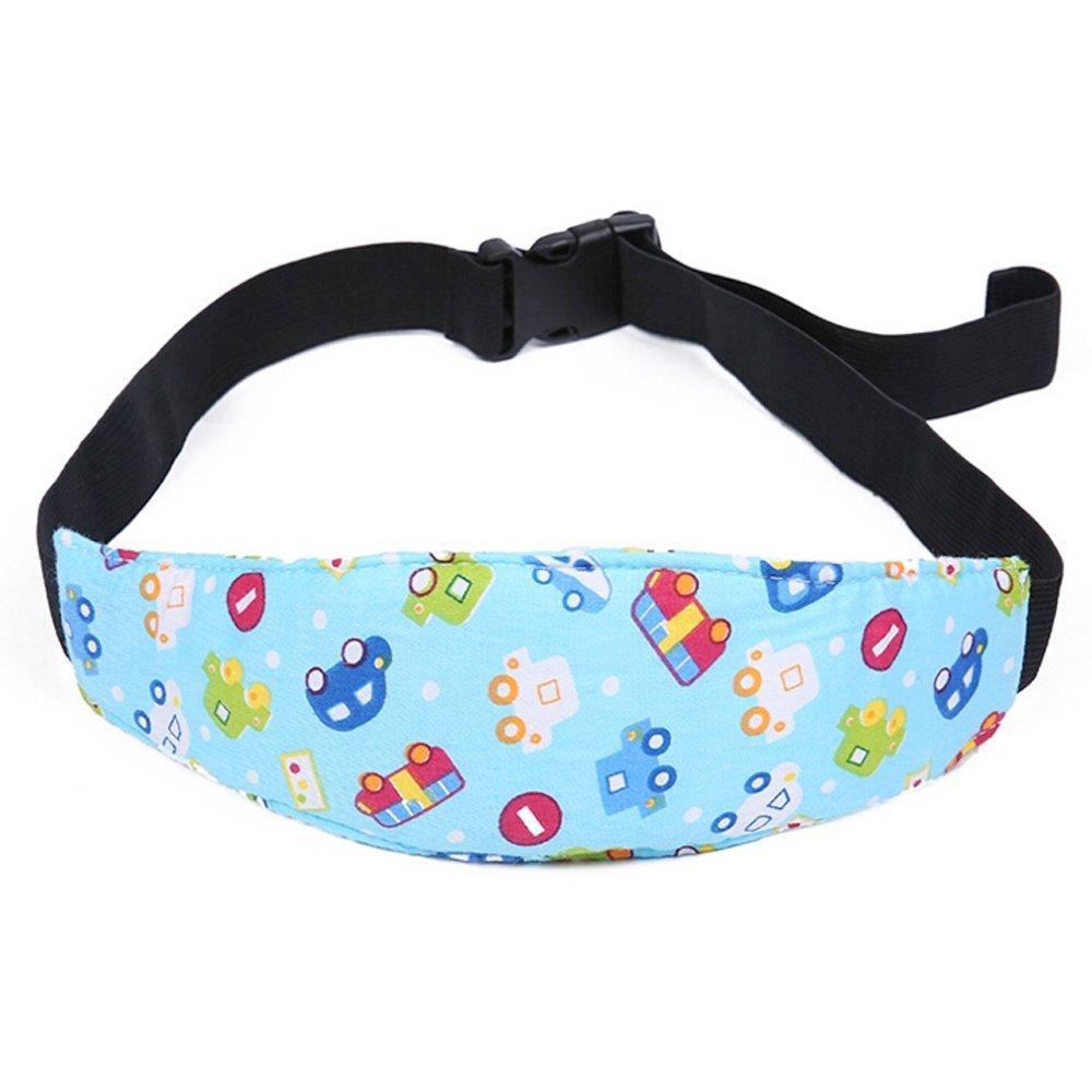 Newin Star - Bebé Soporte Cabeza, Soporte Seguridad de la Cabeza para niños dormir en Coche Cochecito Seguridad Ajustable Suave para los Bebés(coche azul)
