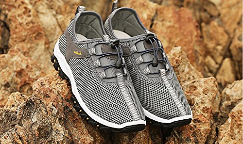 Men's On Slip Summer Breathable Grey Mesh Shoes Climbing Sports Walking Outdoor Shoes Owq17wdT