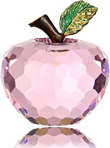 Vie jeune Crystal Apple Figurine Paperweight, Handmade Statue Ornament Home Decoration, Collectible Crystal Crafts, Come with Gift Box, Great Gift for Birthday Holidays Christmas (Pink-60mm)