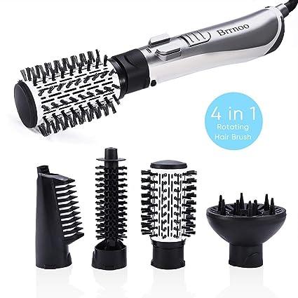 4 en 1 Cepillo de pelo giratorio iónico automático Secador de pelo Enderezado Plancha de pelo