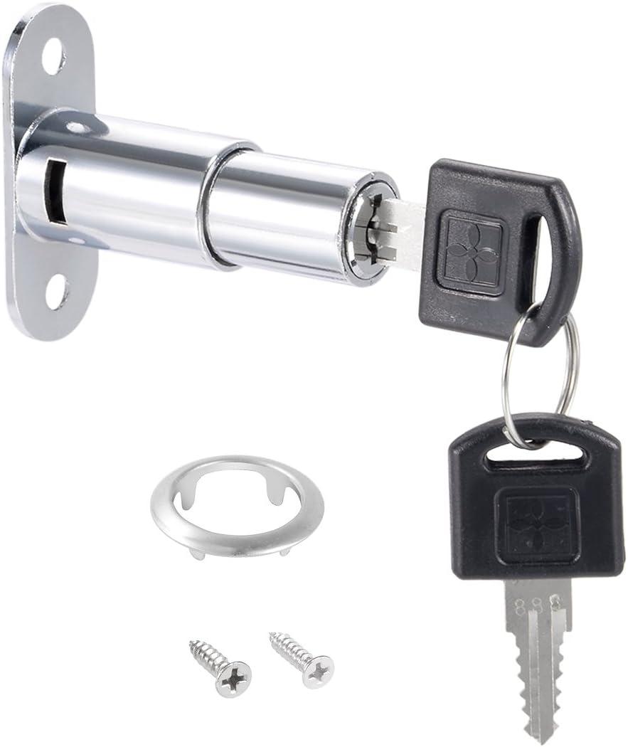 gleichschliessend Zink Legierung chrom Finish 3//4-Zoll Durchmesser 32/mm lang 19/mm Zylindrisch Sourcing Map Push Plunger Lock