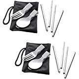 RePlanetMe Portable Foldable Stainless Steel Fork, Spoon, and Chopsticks Utensil Cutlery Set (3-Piece Flatware) for Camping Picnic Travel Hiking Backpacking Outdoor Activity (2)