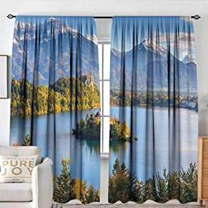 """NUOMANAN Waterproof Window Curtain Landscape,Lake Bled Slovenia with Island in The Middle which Contains Retro Buildings,Green and Blue,Blackout Draperies for Bedroom 84""""x100"""""""