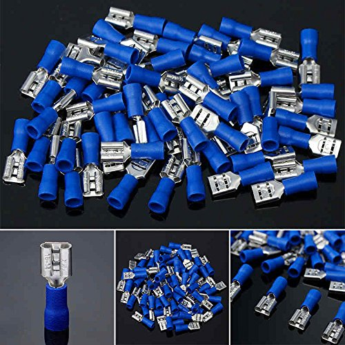 LOCHI 100pcs Female Spade Terminal Blue 6.3mm Female Spade Insulated 16-14AWG Wire Crimp Terminals Connector NEW PRODUCT