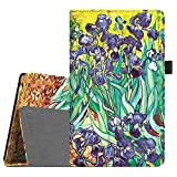 Fintie Folio Case for All-New Amazon Fire HD 8 (6th Generation, 2016 release), Slim Fit Premium Vegan Leather Standing Cover Auto Wake/Sleep for Fire HD 8 Tablet (2016 6th Gen Only), Irises