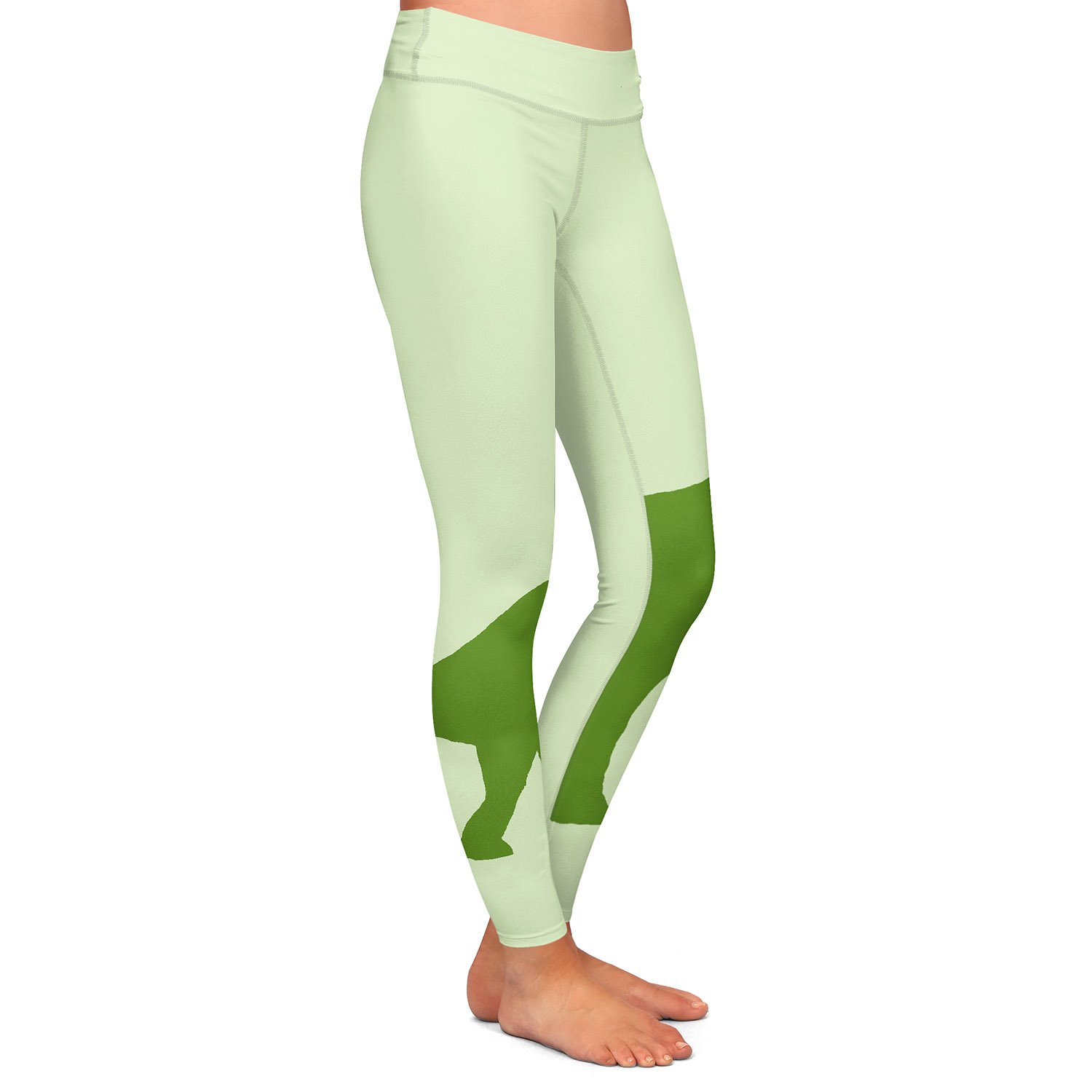 Athletic Yoga Leggings from DiaNoche by Catherine Holcombe Dinosaur I Green