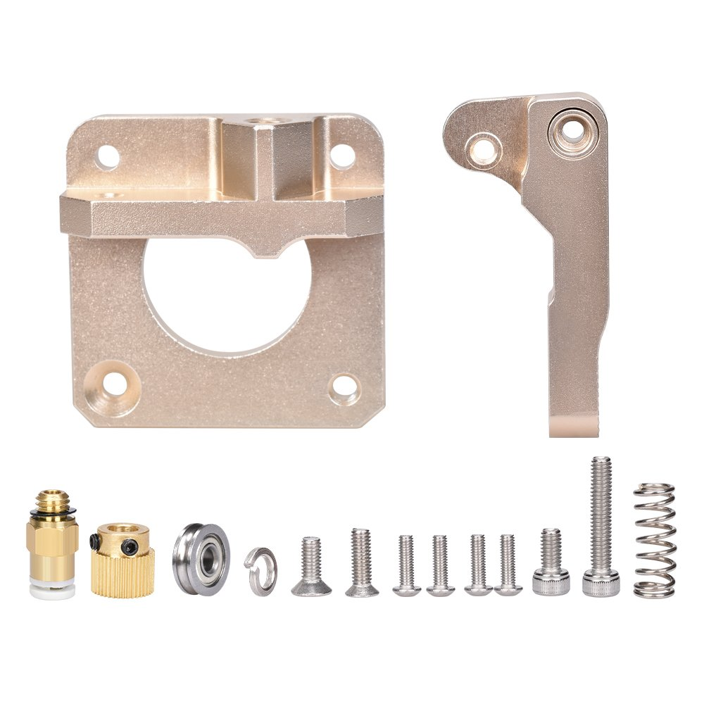 PoPprint MK8 Upgrade Extruder CR-10 Aluminum Alloy Block Bowden Extruder for 1.75mm Filament Gold