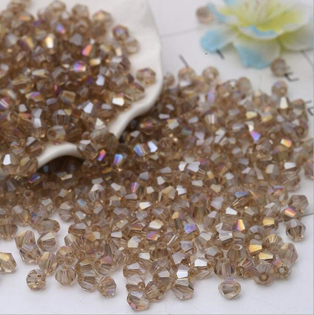 Amber AB XinBoWen DIY 4mm 1000Pcs Amber AB Bulk Faceted Bicone Crystal Glass Beads with Container Box Beads for Making Jewelry