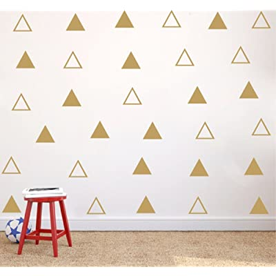 64 pcs/Set 7cm Gold Vinyl Triangles Wall Decal Solid/Outline Triangles Pattern Wall Sticker DIY Home Decor Kids/Children Room Decor Stickers (Gold): Arts, Crafts & Sewing