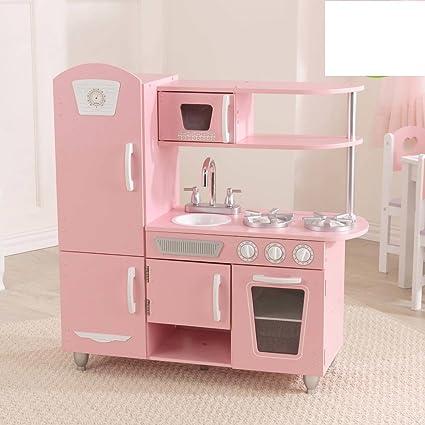Amazoncom KidKraft Vintage Kitchen Pink Toys Games - Kidkraft pink retro kitchen and refrigerator 53160