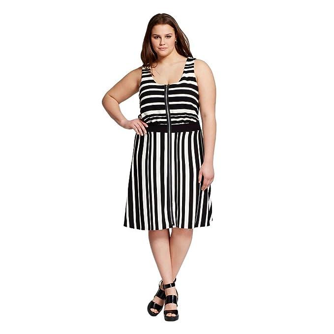 Vanity Room Women\'s Plus Size Striped Zip Front Dress (Black ...