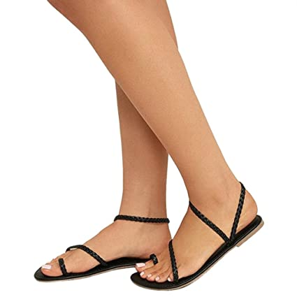 55e9822756 Women Strappy Sandals,Vanvler Ladies Gladiator Heels Summer Flip Flops Flat  Shoes Beach (Black