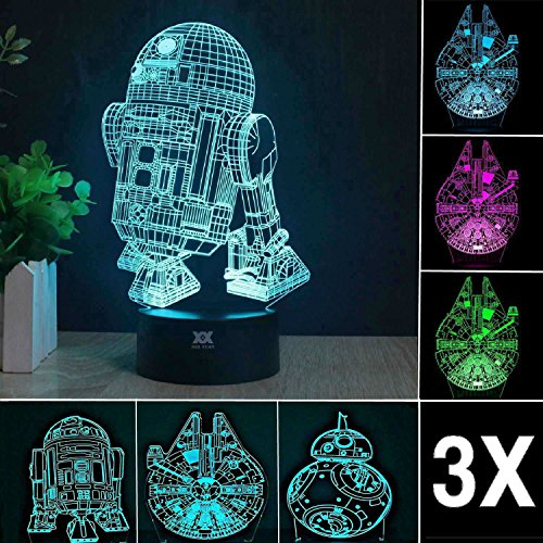 3D Star Wars Lamp - Star Wars Gifts - 3 Pattern&1 Base - Star Wars R2-D2 - Star Wars Bb8 - Death Star Wars - Star Wars Light - Optical Illusion Led Light - Star Wars Lamp