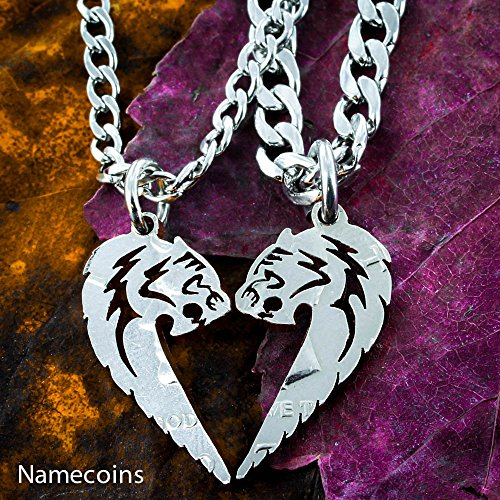 - Tiger and Tigress Couples Necklaces, Animals making a heart set, Hand Cut Coin