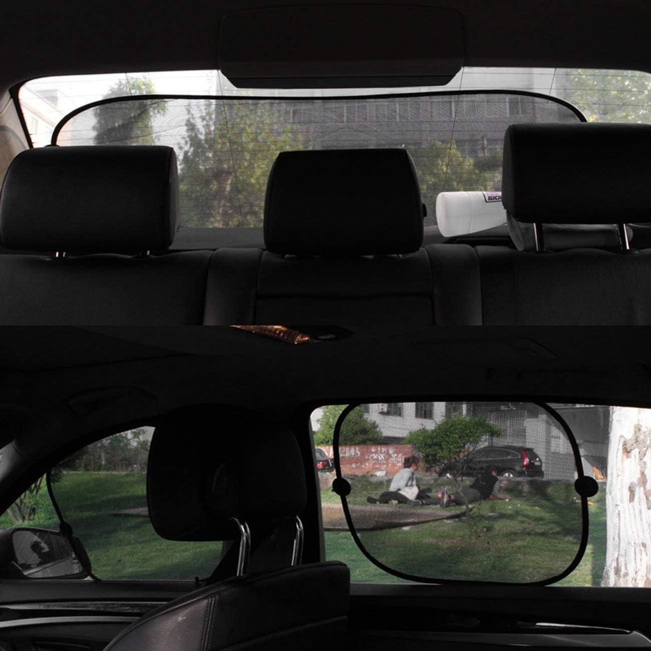 Panda 5pcs//Set Car Window Sunshade Mesh Auto Sun Visor Curtain with Suction Cup Front Rear Side Curtain Car Styling Covers Sunshade Black