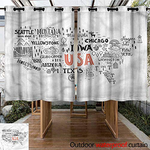 Sunnyhome Outdoor Curtains USA Map City Typography Pattern for Patio/Front Porch W 55