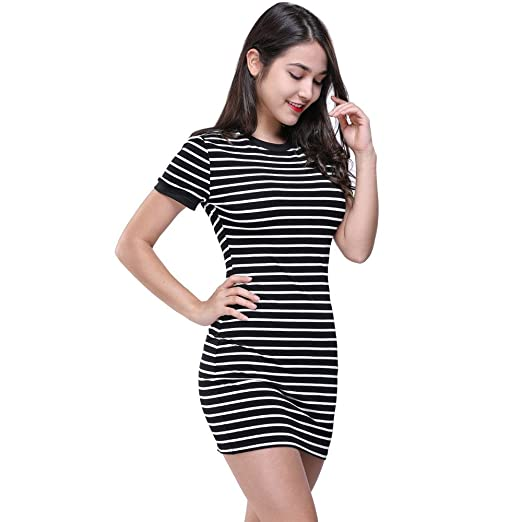 552f3844ce Kehen Women Short Sleeve White Black Striped Mini Bodycon Dress Wear to  Work Casual Party Pencil Dresses at Amazon Women's Clothing store:
