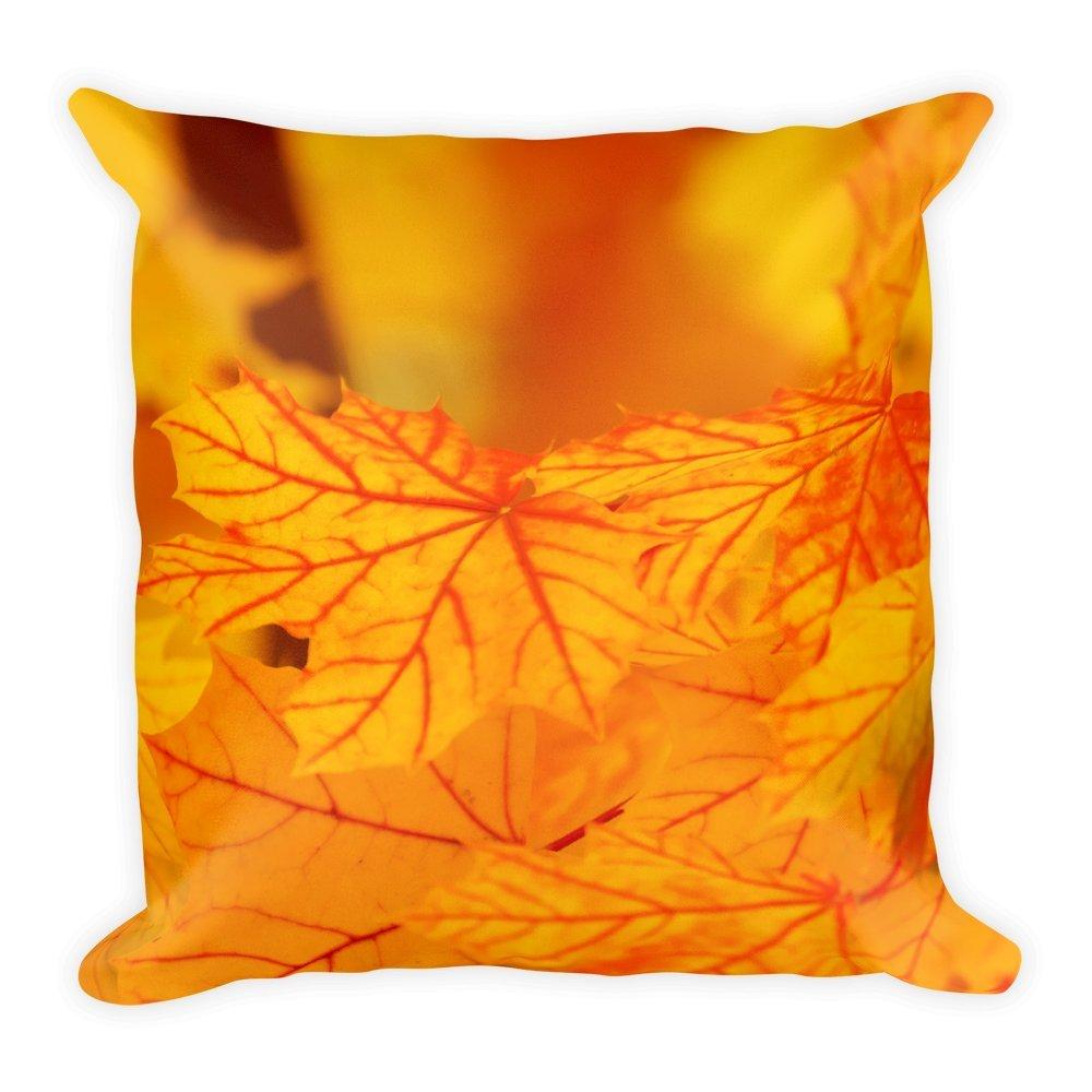 Orange d'automne Feuilles Coussin 45X 45cm Naturel Motif Housse de coussin, taie d'oreiller, Oreiller cadeau à offrir ou, basse, canapé, doux, moelleuse, grand, 45x 45cm taie d' oreiller Purefire Designs