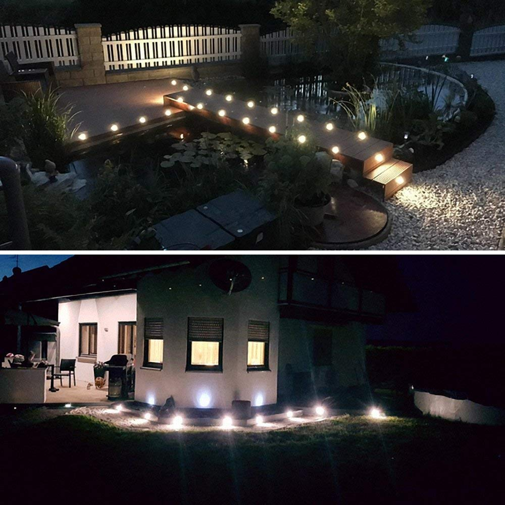 Lixada Recessed LED Deck Lighting Kits 12V Low Voltage Warm White//Natural White /φ22mm Waterproof IP67,Led in Ground Light for Steps,Stair,Patio,Floor,Pool Deck,Kitchen,Outdoor Led Landscape Lights