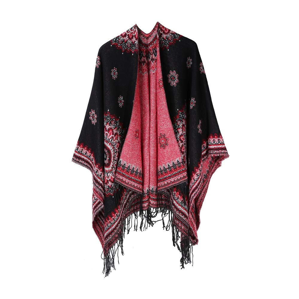 Excellent Women's Fall Winter Scarf Cloak Tassel Cape Mantle Scarf Ardent Mild Kerchief Wrap Shawl Scarves (Color : Black, Size : 51.1 x 59.06 Inch') by Excellent