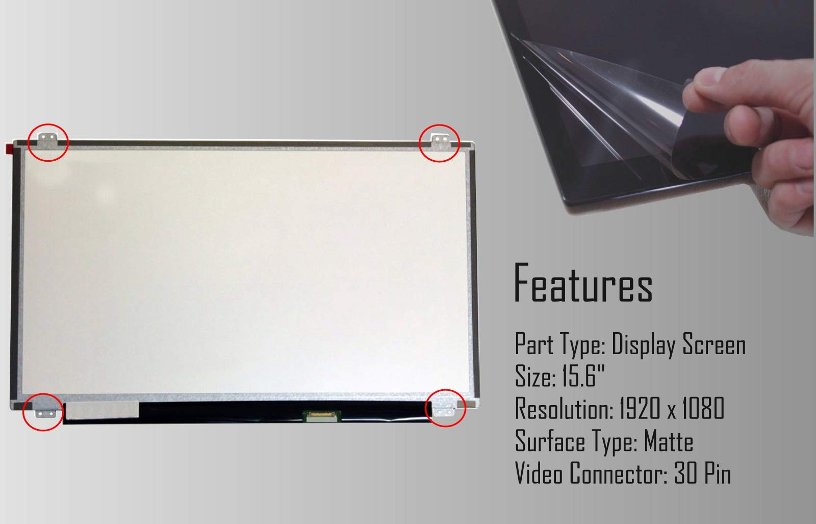 LCD LED Display with Tools FHD 1920x1080 SCREENARAMA New Screen Replacement for B140HAN02.1 Matte IPS