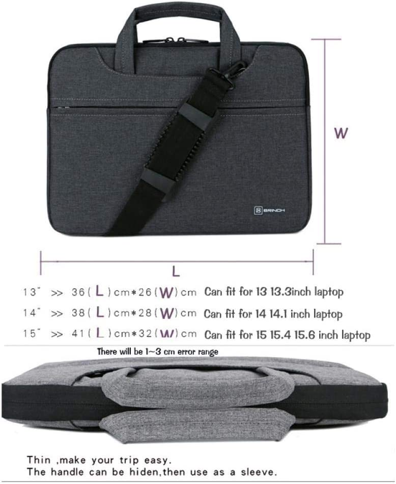 Lorachun Laptop Bag 13 14 15.6 Inch Waterproof Notebook Bag for MacBook Air Pro 15.4 Laptop Shoulder Bag for Woman Business Bag for Man 5 Colors Can be Choose Color : Black, Size : 15inch