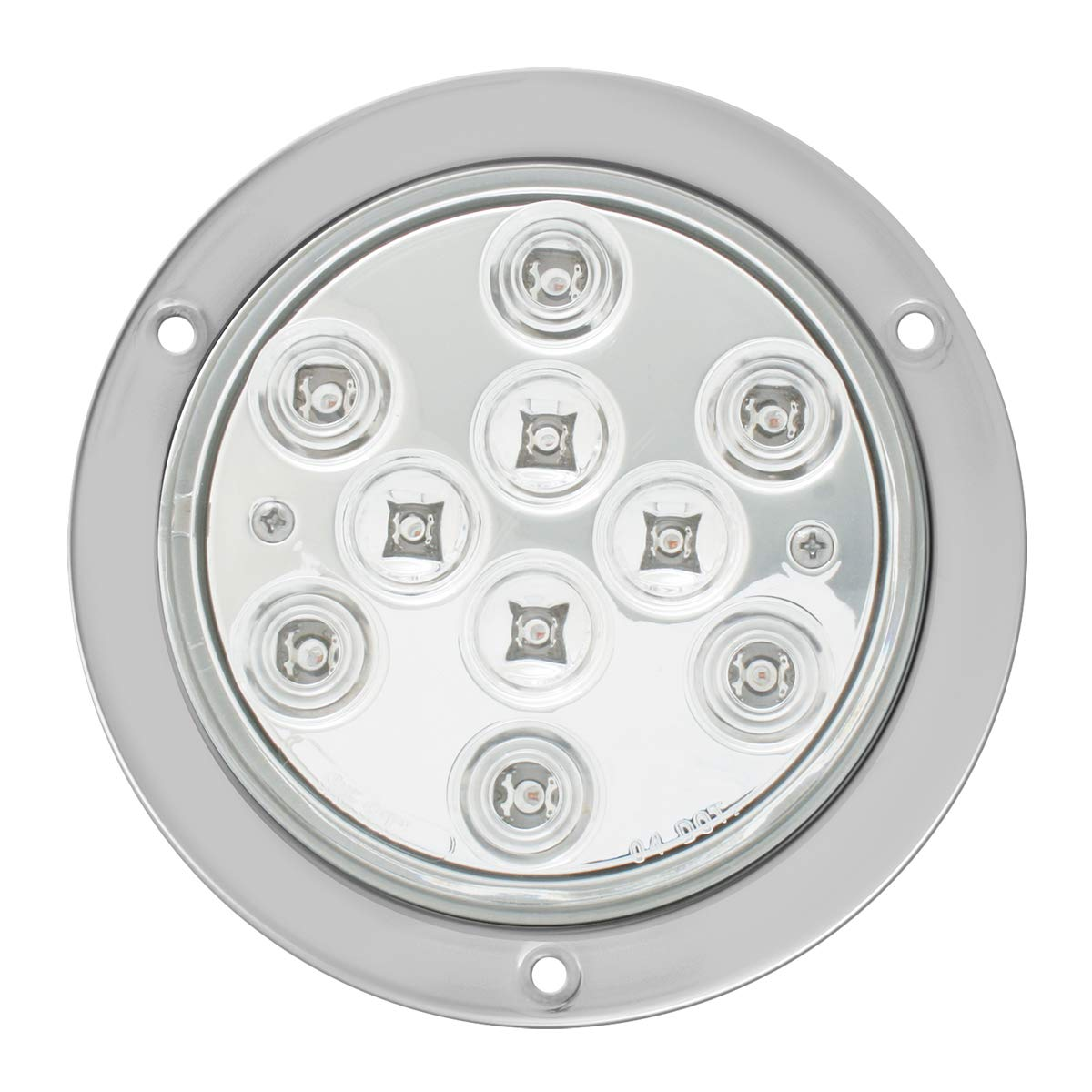 GG Grand General 76853 LED Light (4'' Mega 10 Plus Red/Clear with S.S. Flange Mount and Pigtail)