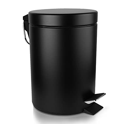 Malmo Round Step Trash Can With Lids, Brushed Stainless Steel With  Removable Bucket (3L