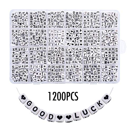 Heflashor 1200PCS Acrylic Letter Beads White Cube Letter Beads Alphabet Beads A-Z and Heart Beads for Jewelry Making/Bracelets/Necklaces/Kids 6 X 6mm