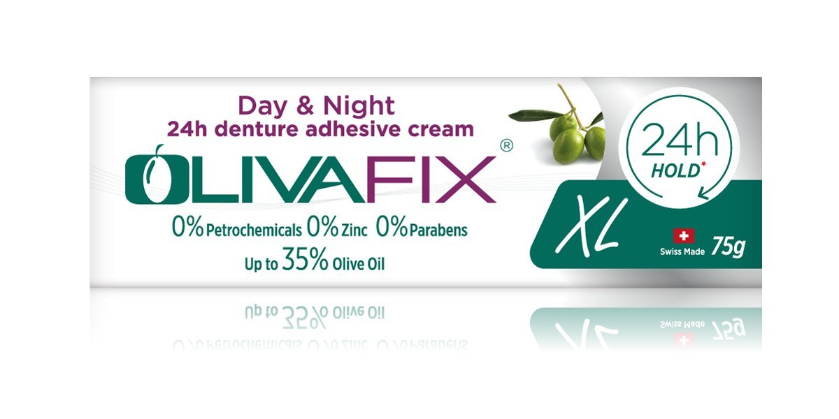 Natural Strong Denture Adhesive Olivafix holds denture UP TO 24 hours NO Zinc NO Petrochemical NO Additives