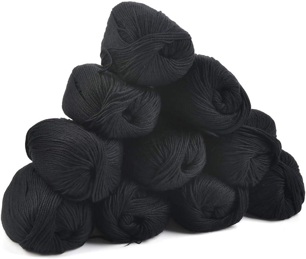 Set da Cotone a Casa JAOMON 10pcs Cotone Filato per Maglieria a Mano Leggero Morbidi Calze Fai da Te Filati Cotone Cucito per Maglioni Filo Cotone Nero Filato Uncinetto Assortiti Cappelli