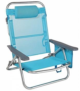 Hi Silla de playa con almohada camping Silla tumbona plegable azul