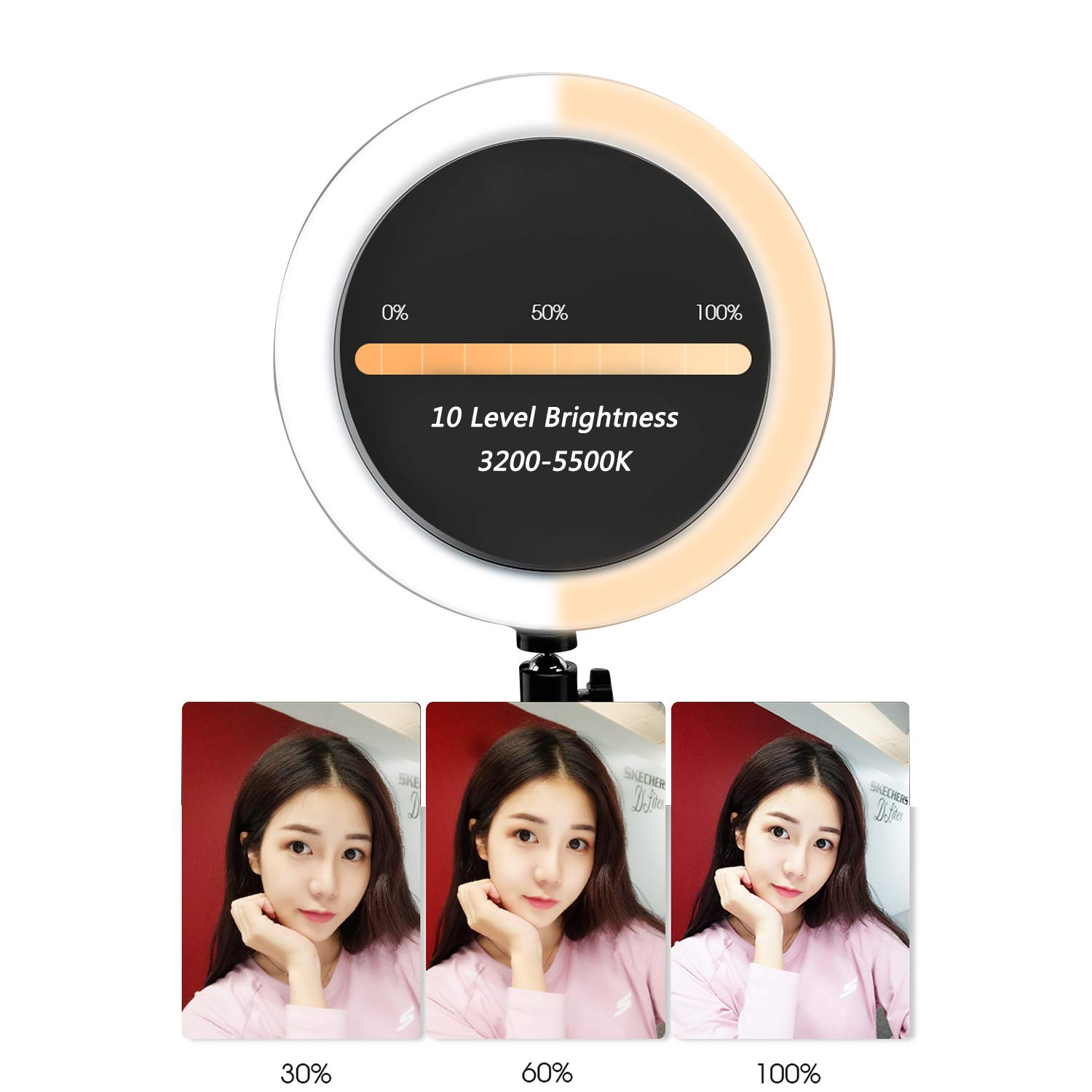 Ring Light with Stand for Camera Live Stream Makeup Phone,Dimmable LED Selfie Ring Light for Phone Video Shooting by NCElec (Image #3)
