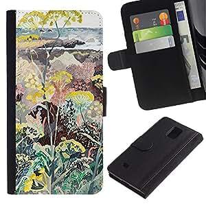 APlus Cases // Samsung Galaxy Note 4 SM-N910 // Seashore plantas flores pintura Diseño // Cuero PU Delgado caso Billetera cubierta Shell Armor Funda Case Cover Wallet Credit Card